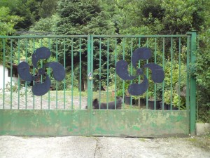 "Basque ""swastikas"" - or Lauburus - on gate"